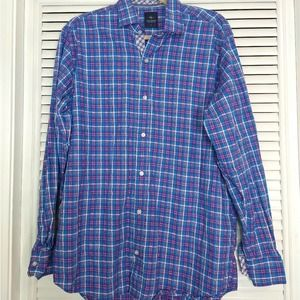 Tailorbyrd collection blue plaid button down top